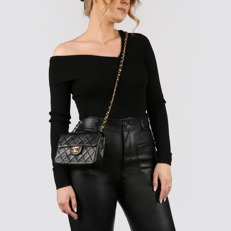 1989 Chanel Black Quilted Lambskin Vintage Mini Flap Bag  For Sale 9