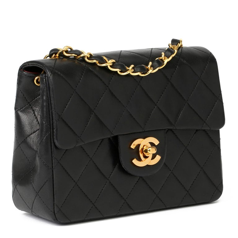 CHANEL Black Quilted Lambskin Vintage Mini Flap Bag   Xupes Reference: HB3953 Serial Number: 1198622 Age (Circa): 1989 Accompanied By: Chanel Dust Bag, Box Authenticity Details: Serial Sticker (Made in France)  Gender: Ladies Type: Shoulder,