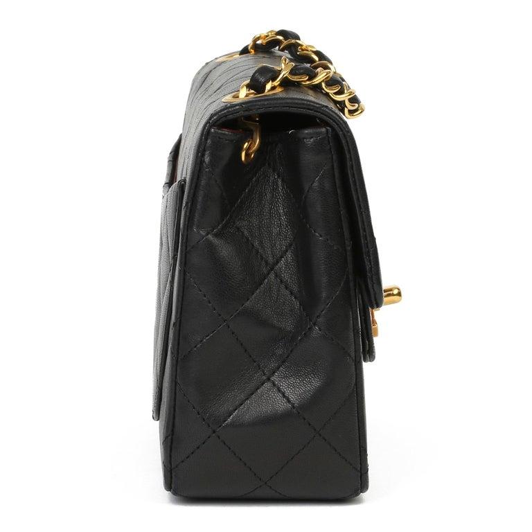 1989 Chanel Black Quilted Lambskin Vintage Mini Flap Bag  In Excellent Condition For Sale In Bishop's Stortford, Hertfordshire