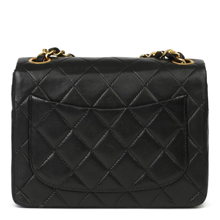 1989 Chanel Black Quilted Lambskin Vintage Mini Flap Bag  For Sale 1