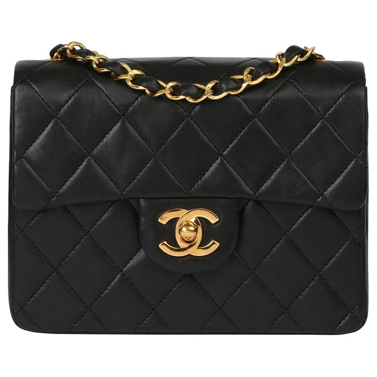1989 Chanel Black Quilted Lambskin Vintage Mini Flap Bag  For Sale