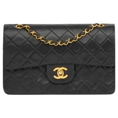 1989 Chanel Black Quilted Lambskin Vintage Small Classic Double Flap Bag