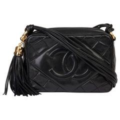 1989 Chanel Black Quilted Lambskin Vintage Timeless Fringe Camera Bag