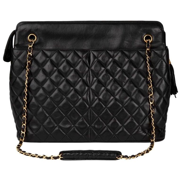 a0af74acdb17 1989 Chanel Black Quilted Lambskin Vintage Timeless Fringe Shoulder Bag For  Sale