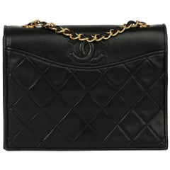 1989 Chanel Black Quilted Lambskin Vintage Timeless Single Flap Bag
