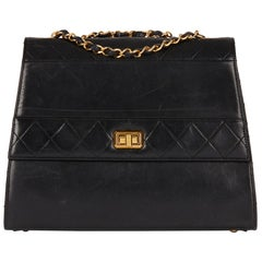 1989 Chanel Black Quilted Lambskin Vintage Trapeze Classic Single Flap Bag