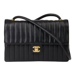 1989 Chanel Black Vertical Quilted Lambskin Vintage Classic Single Flap Bag