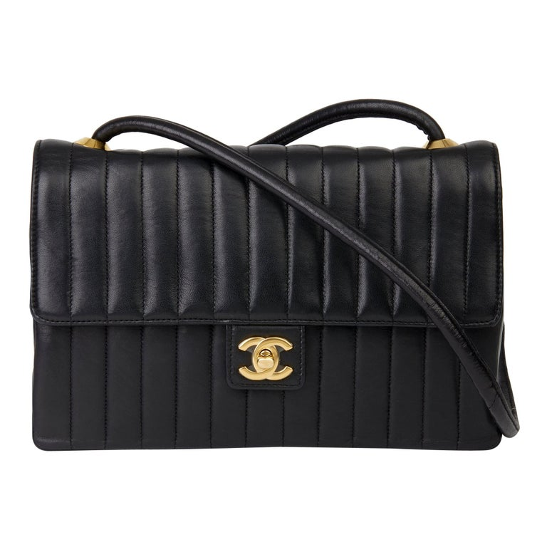 1989 Chanel Black Vertical Quilted Lambskin Vintage Classic Single Flap Bag  For Sale