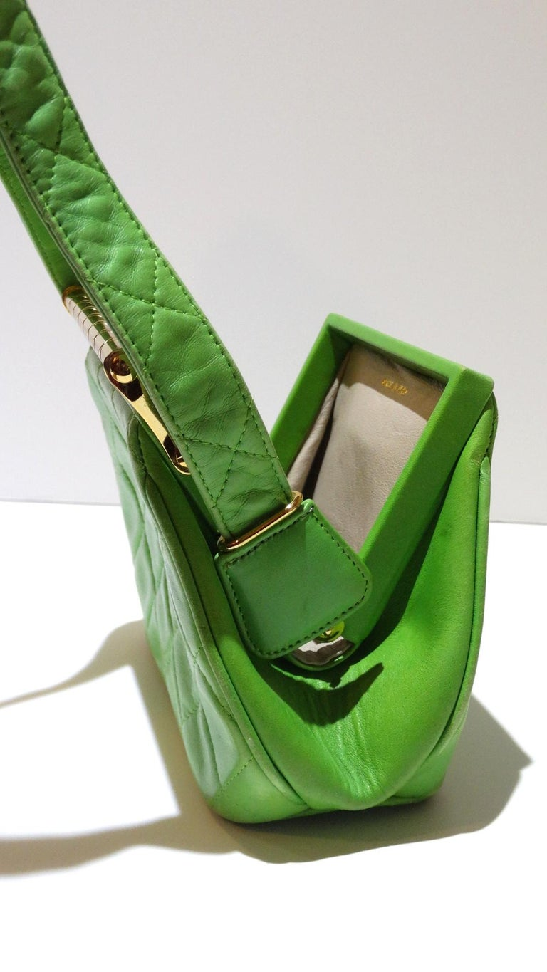 1989 Chanel Kelly Green Quilted Handbag  For Sale 12