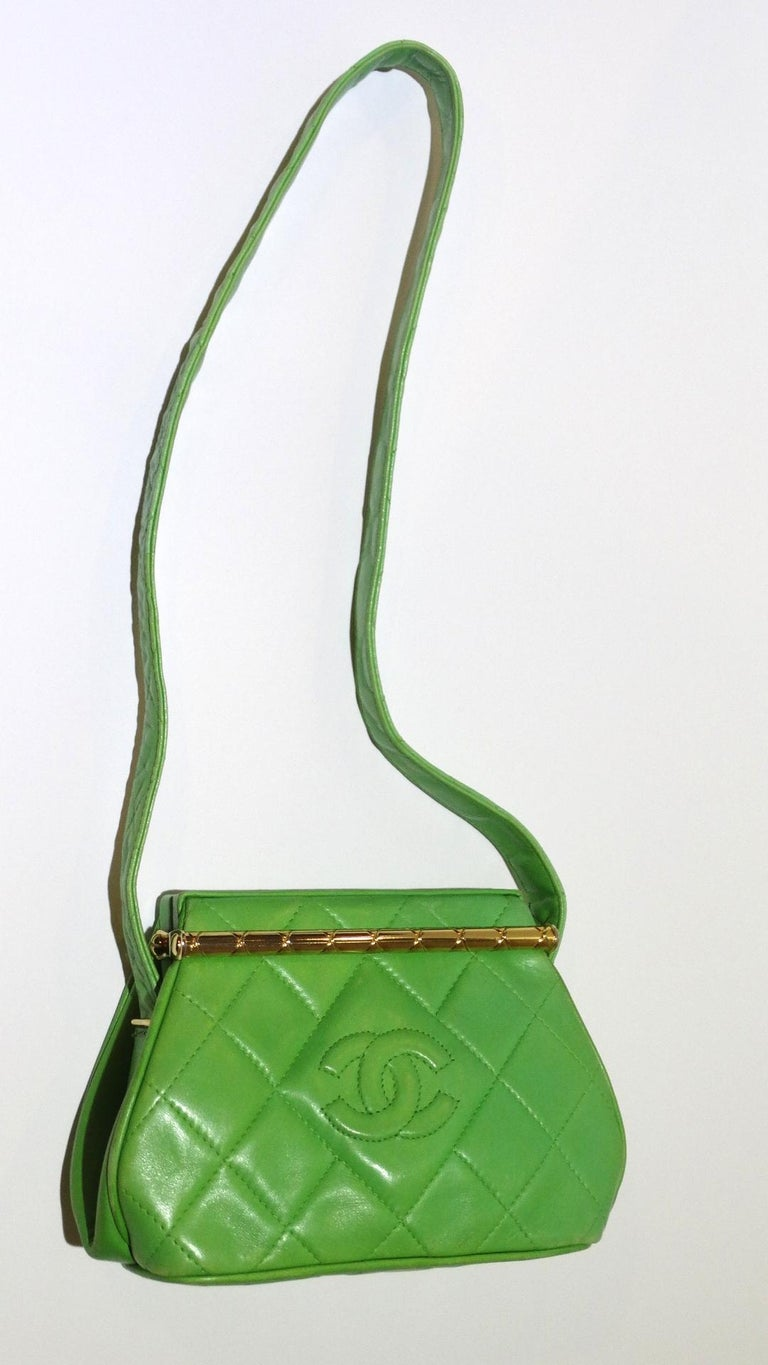 The most adorable little Chanel bag circa 1989- the perfect pop of color to add to all your summer looks! Made of a soft Kelly green lambskin leather, stitched with Chanel's classic quilting and