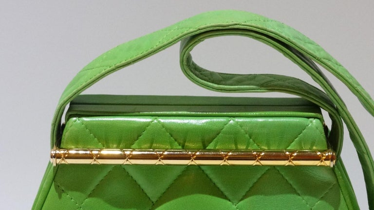 1989 Chanel Kelly Green Quilted Handbag  For Sale 2