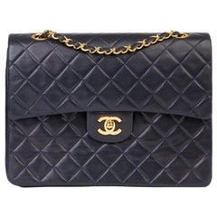 1989 Chanel Navy Quilted Lambskin Vintage Medium Tall Classic Double Flap Bag