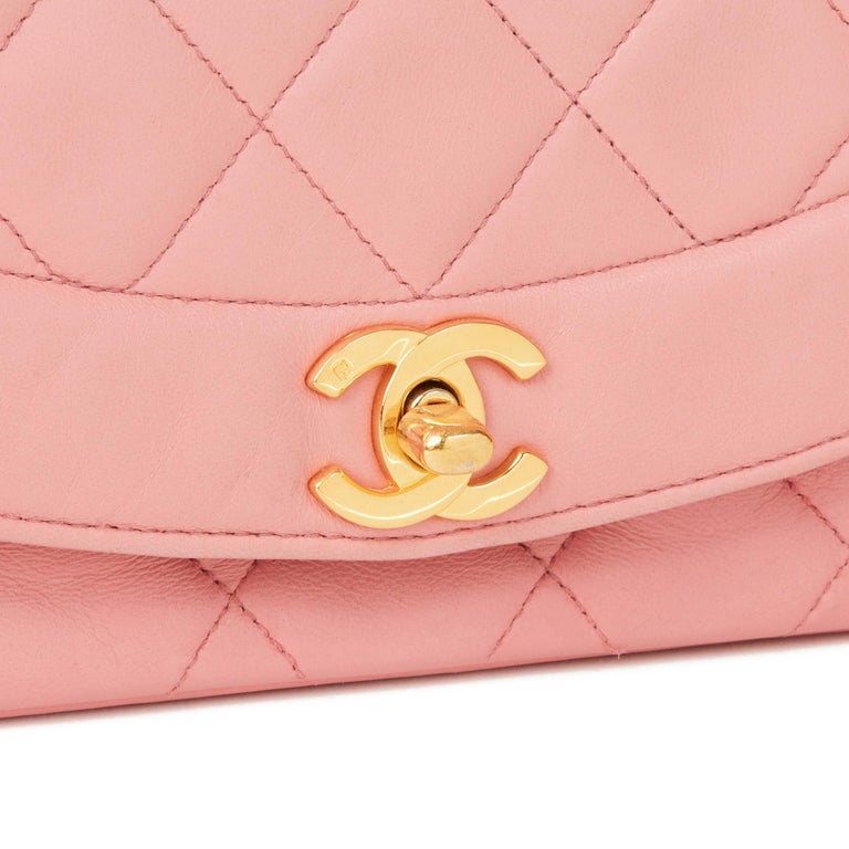 1989 Chanel Pink Quilted Lambskin Vintage Small Diana Classic Single Flap Bag For Sale 1