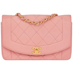 1989 Chanel Pink Quilted Lambskin Vintage Small Diana Classic Single Flap Bag