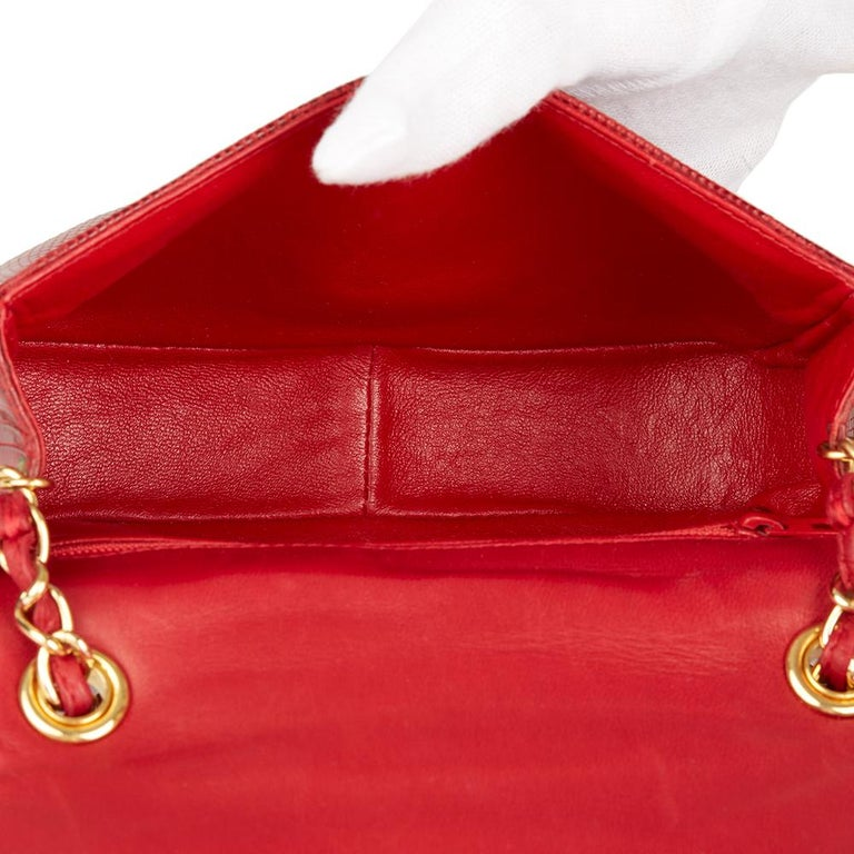 1989 Chanel Red Lizard Leather Vintage Timeless Mini Flap Bag For Sale 6