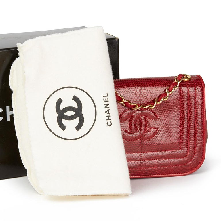 1989 Chanel Red Lizard Leather Vintage Timeless Mini Flap Bag For Sale 7