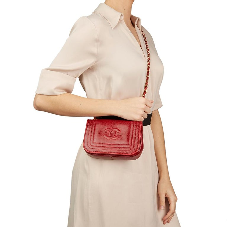 1989 Chanel Red Lizard Leather Vintage Timeless Mini Flap Bag For Sale 8