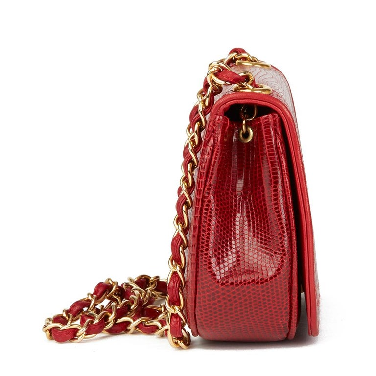1989 Chanel Red Lizard Leather Vintage Timeless Mini Flap Bag In Excellent Condition For Sale In Bishop's Stortford, Hertfordshire