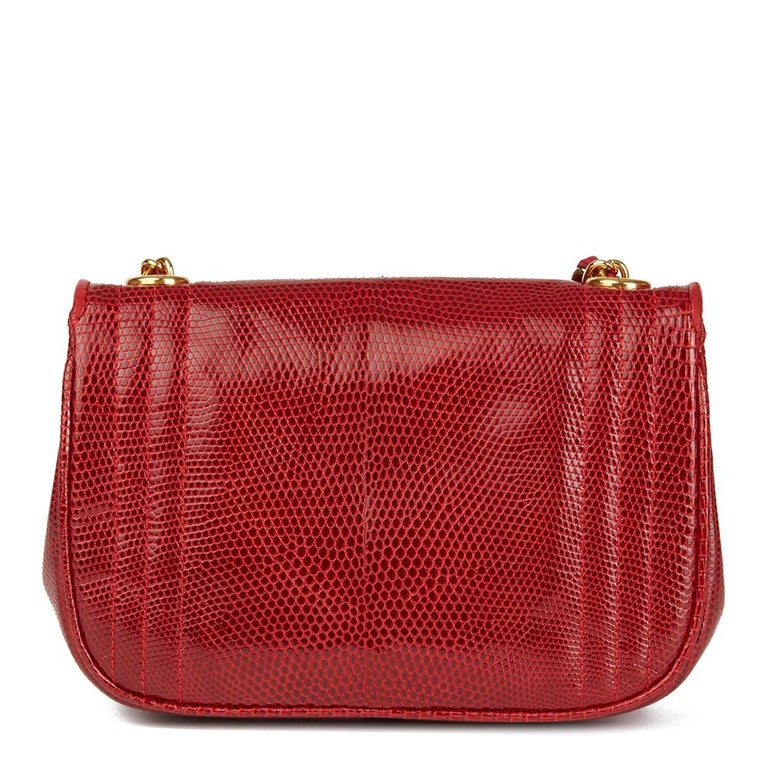 Women's 1989 Chanel Red Lizard Leather Vintage Timeless Mini Flap Bag For Sale