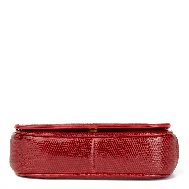 1989 Chanel Red Lizard Leather Vintage Timeless Mini Flap Bag For Sale 1