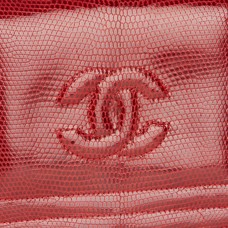 1989 Chanel Red Lizard Leather Vintage Timeless Mini Flap Bag For Sale 2