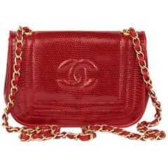 1989 Chanel Red Lizard Leather Vintage Timeless Mini Flap Bag
