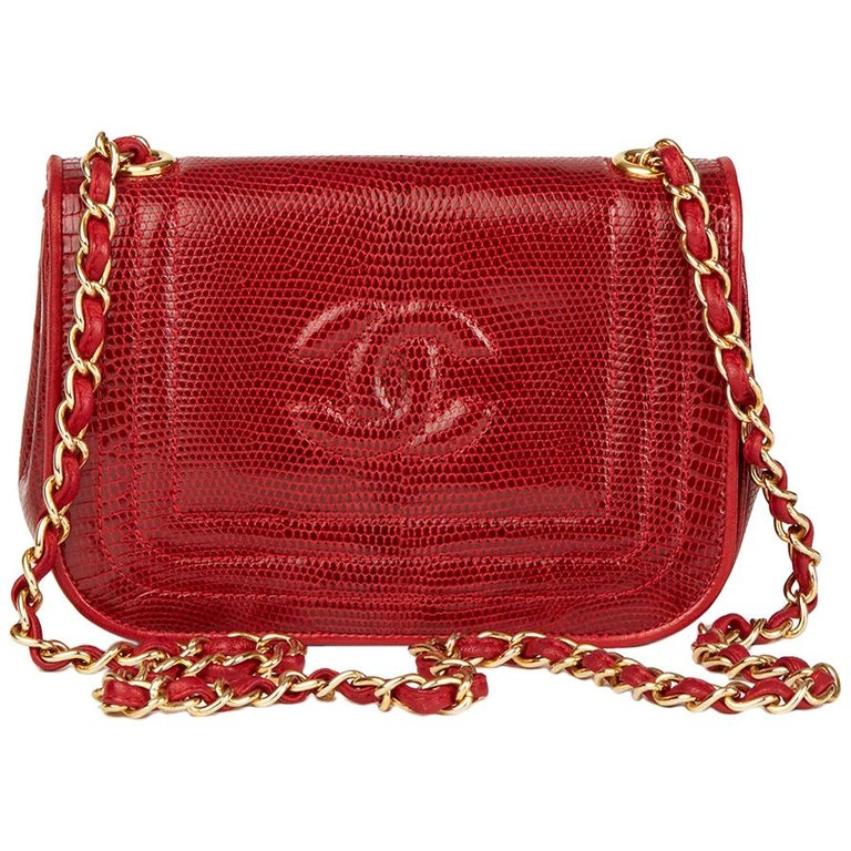 1989 Chanel Red Lizard Leather Vintage Timeless Mini Flap Bag For Sale