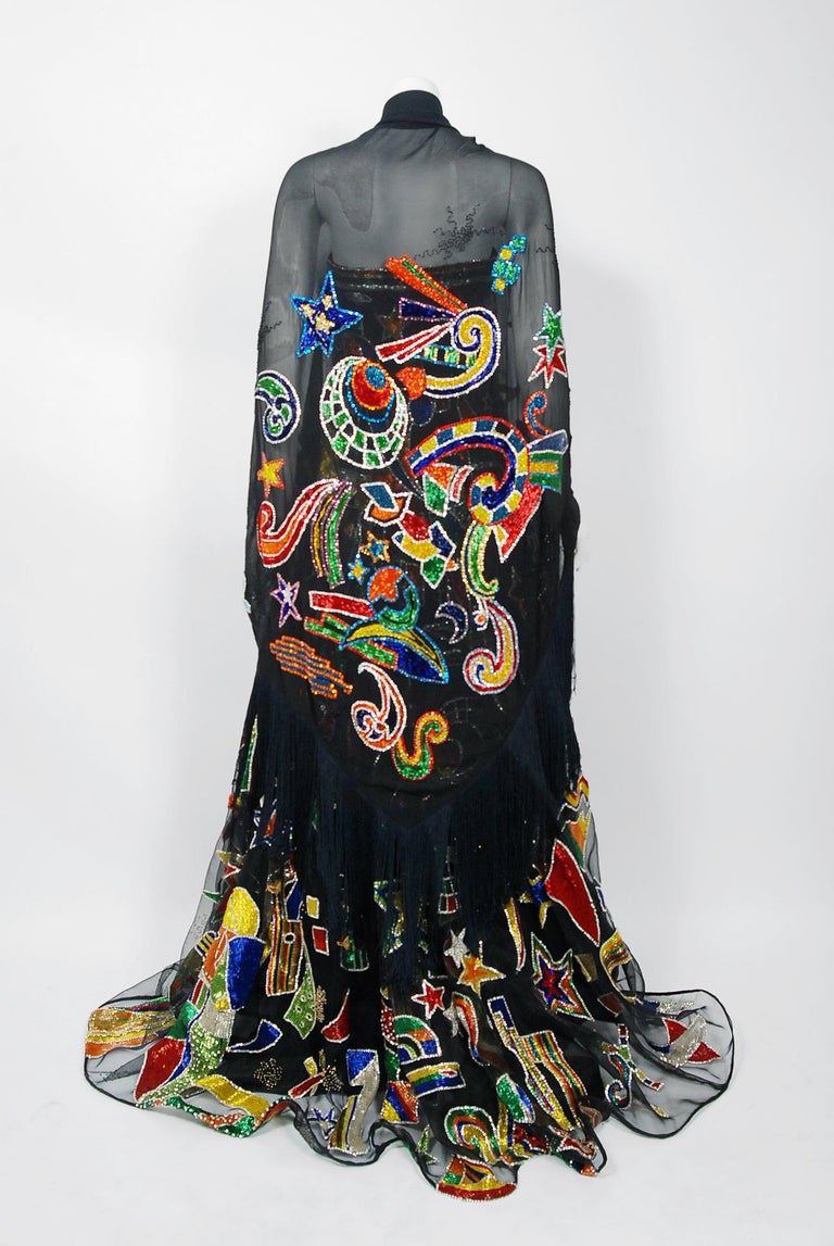 Vintage 1989 Gianni Versace Haute Couture Beaded Circus Novelty Gown and Shawl For Sale 6