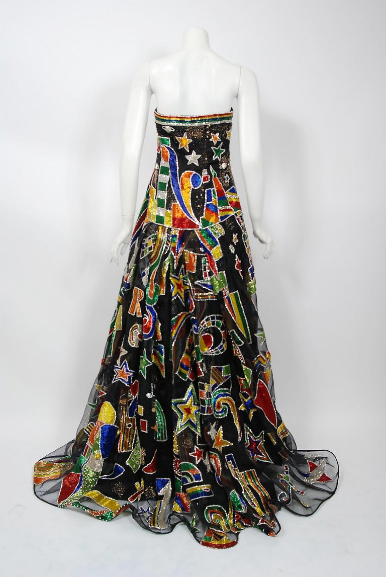 Vintage 1989 Gianni Versace Haute Couture Beaded Circus Novelty Gown and Shawl For Sale 11