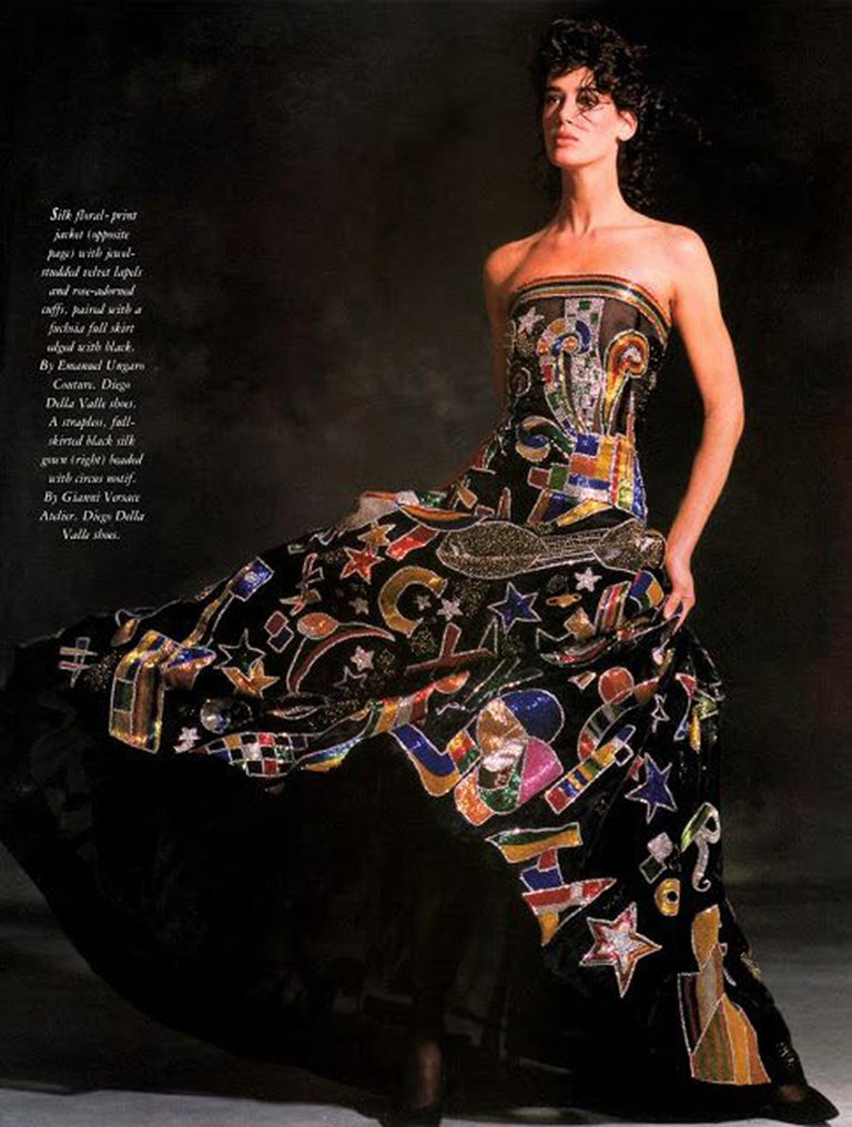 Black Vintage 1989 Gianni Versace Haute Couture Beaded Circus Novelty Gown and Shawl For Sale