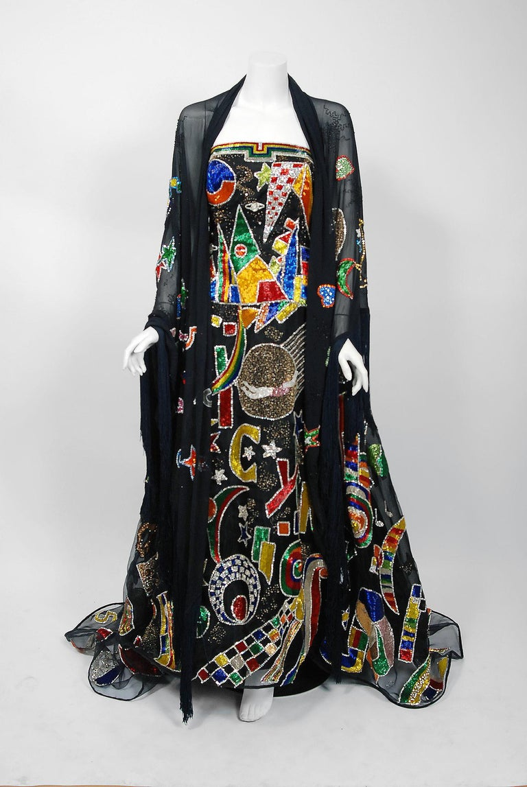 Vintage 1989 Gianni Versace Haute Couture Beaded Circus Novelty Gown and Shawl For Sale 2