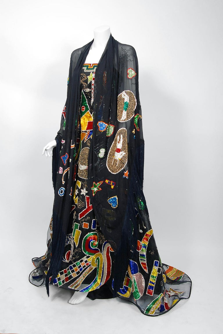 Vintage 1989 Gianni Versace Haute Couture Beaded Circus Novelty Gown and Shawl For Sale 3