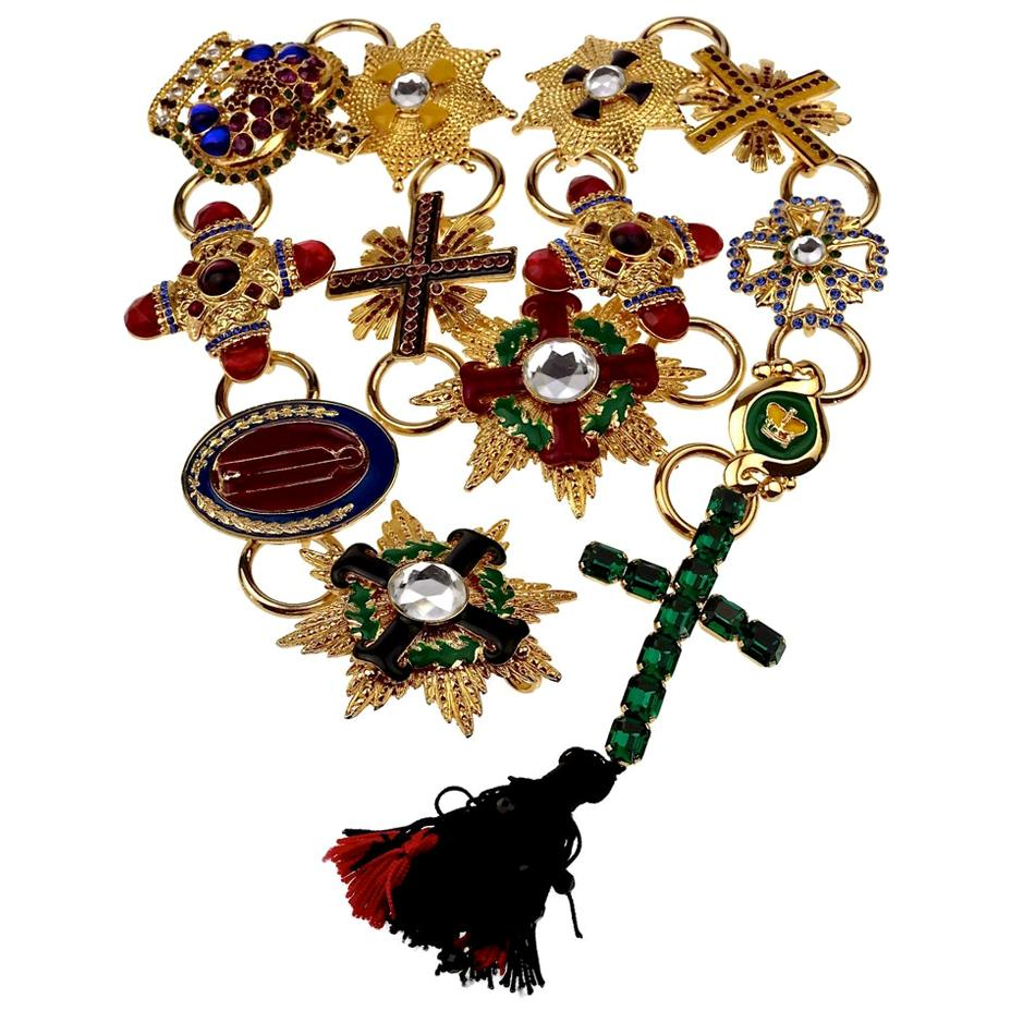 "1989 GIANNI VERSACE ""Honors and Glories"" Byzantine Tassel Jeweled Charm Belt"