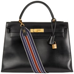 1989 Hermès Black Box Calf Leather Vintage Kelly 32cm Sellier