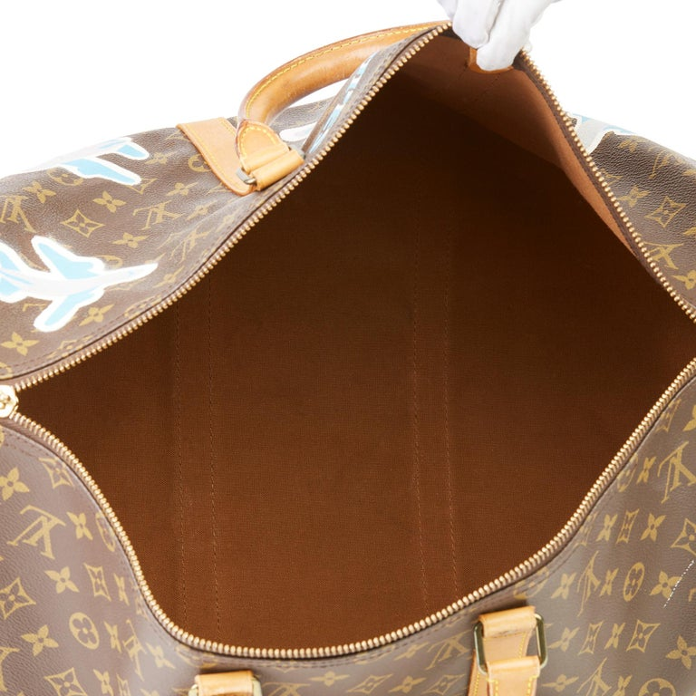 1989 Louis Vuitton Hand-painted  Paper Plane$ Monogram Coated Canvas Keepall 50 For Sale 6