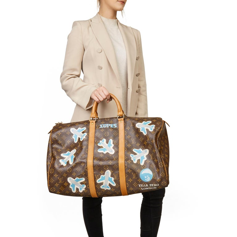 1989 Louis Vuitton Hand-painted  Paper Plane$ Monogram Coated Canvas Keepall 50 For Sale 7