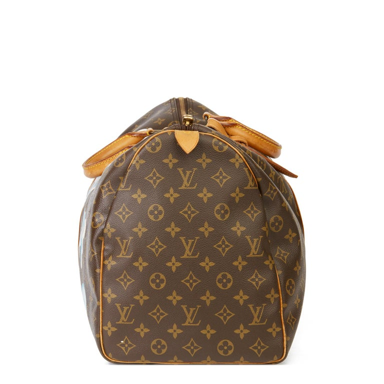 1989 Louis Vuitton Hand-painted  Paper Plane$ Monogram Coated Canvas Keepall 50 In Excellent Condition For Sale In Bishop's Stortford, Hertfordshire