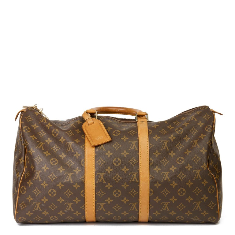 Women's or Men's 1989 Louis Vuitton Hand-painted  Paper Plane$ Monogram Coated Canvas Keepall 50 For Sale