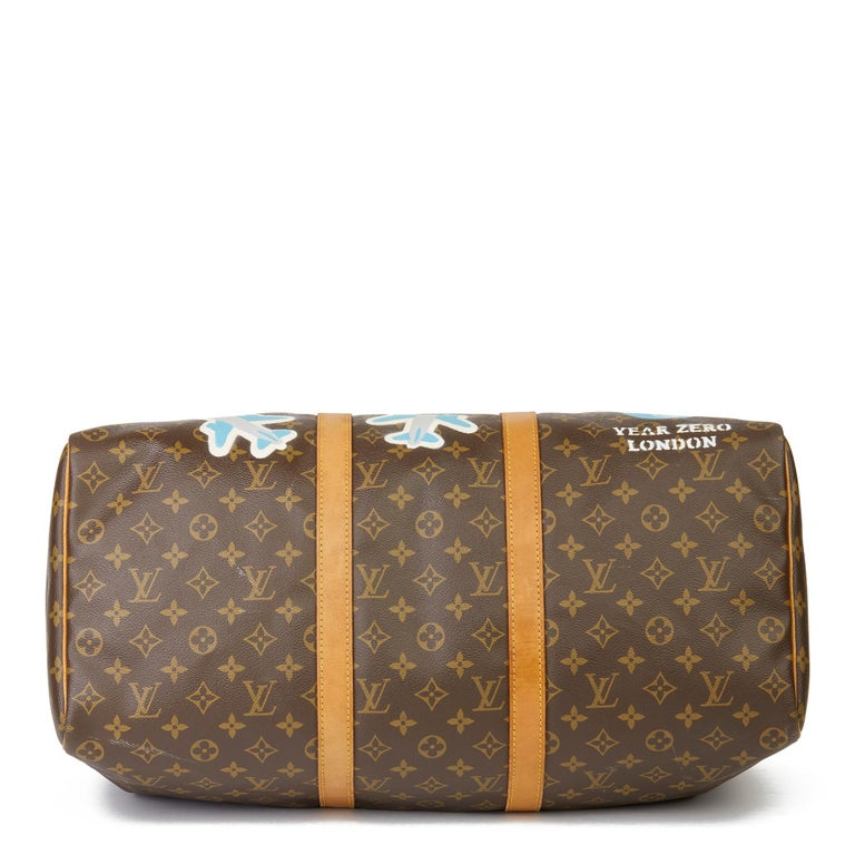 1989 Louis Vuitton Hand-painted  Paper Plane$ Monogram Coated Canvas Keepall 50 For Sale 1