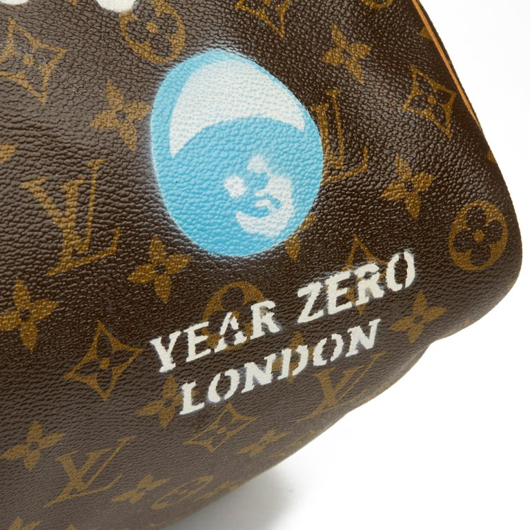 1989 Louis Vuitton Hand-painted  Paper Plane$ Monogram Coated Canvas Keepall 50 For Sale 2