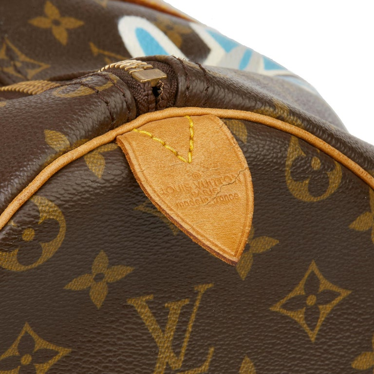 1989 Louis Vuitton Hand-painted  Paper Plane$ Monogram Coated Canvas Keepall 50 For Sale 3