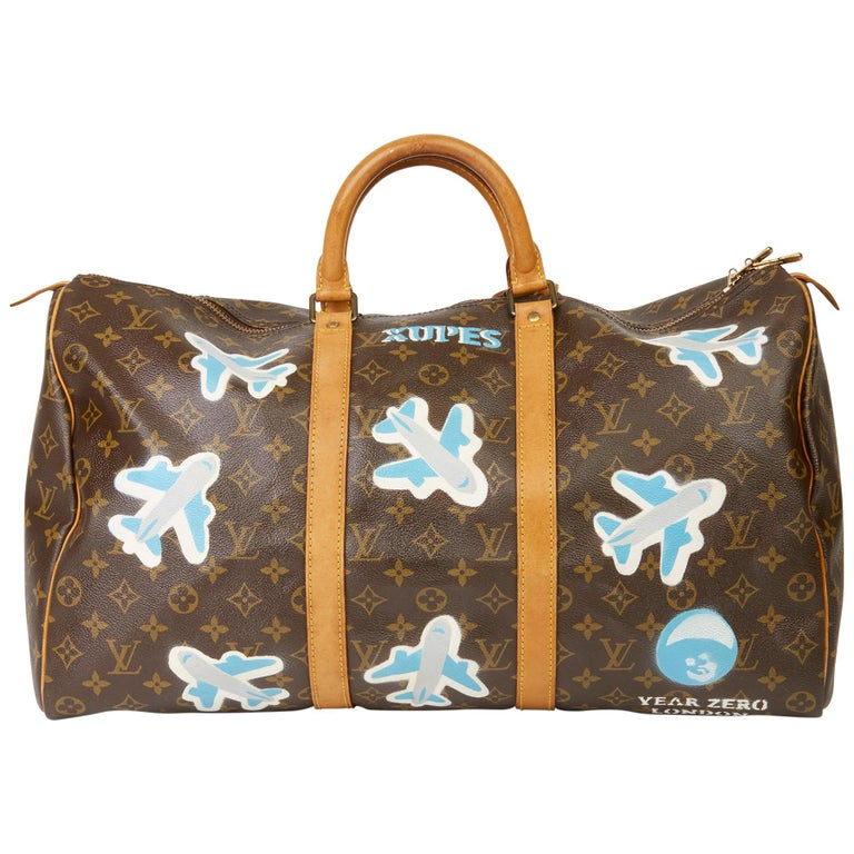 1989 Louis Vuitton Hand-painted  Paper Plane$ Monogram Coated Canvas Keepall 50 For Sale