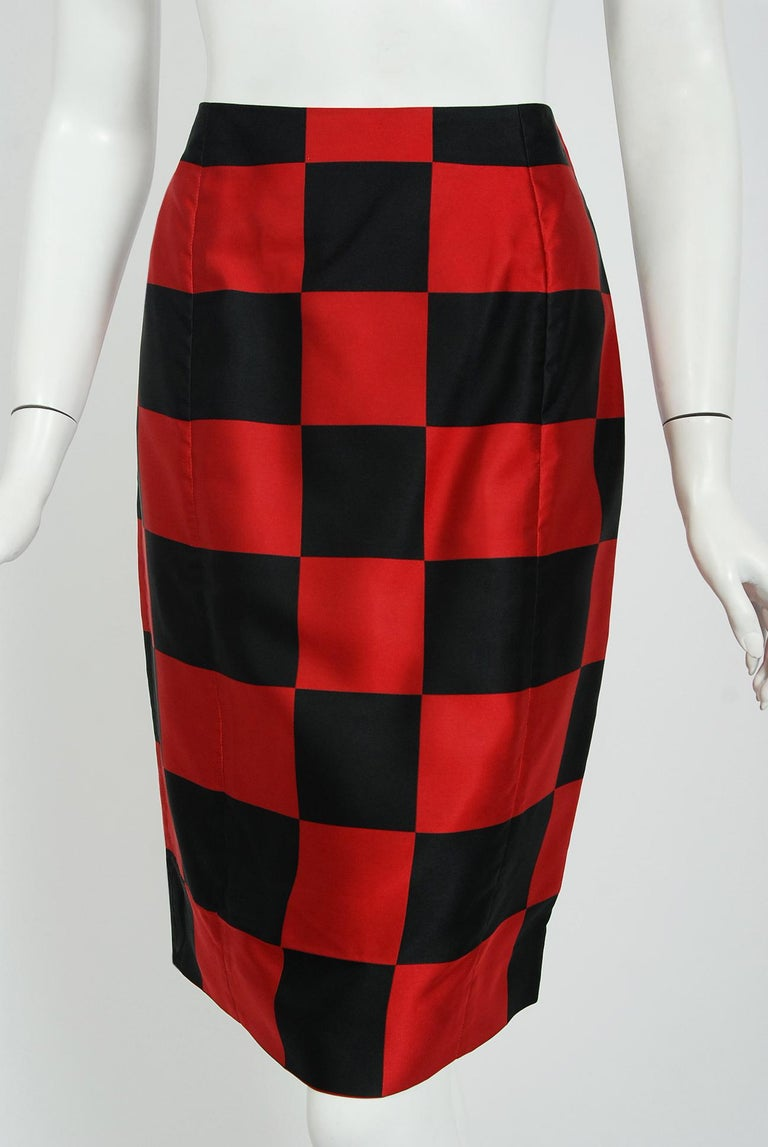 Women's 1989 Marc Jacobs for Perry Ellis Black & Red Checkered Silk Skirt w/ Shawl Wrap For Sale