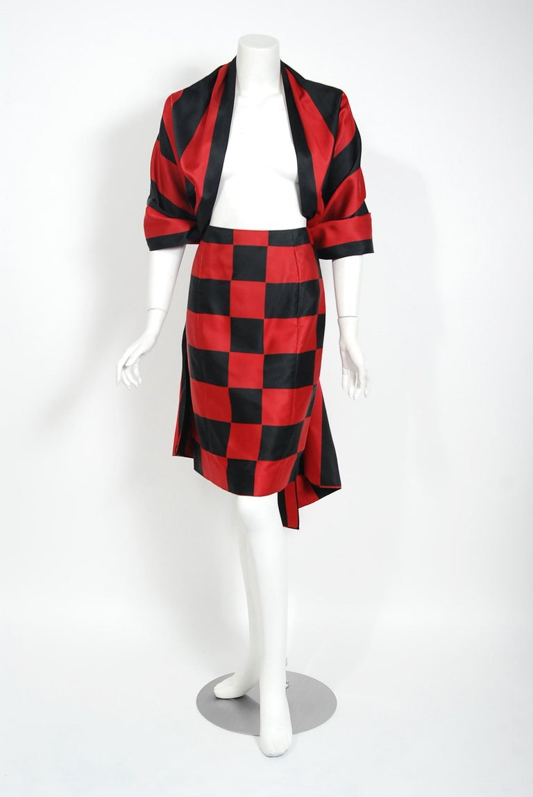 1989 Marc Jacobs for Perry Ellis Black & Red Checkered Silk Skirt w/ Shawl Wrap For Sale 1