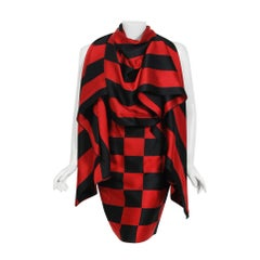 1989 Marc Jacobs for Perry Ellis Black & Red Checkered Silk Skirt w/ Shawl Wrap