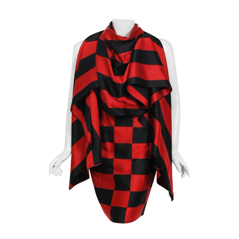 1989 Marc Jacobs for Perry Ellis Black & Red Checkered Silk Skirt w/ Shawl Wrap For Sale