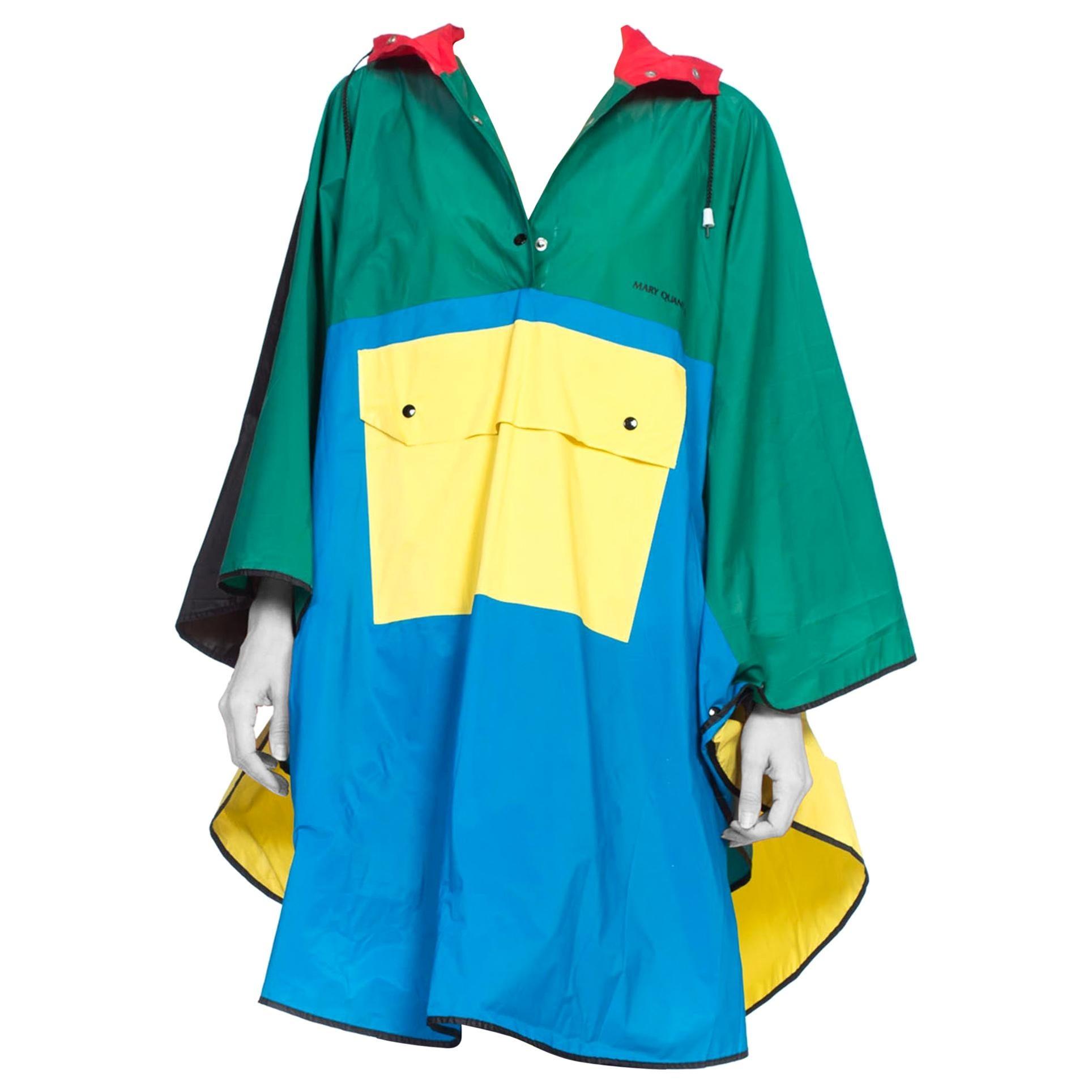 1980S MARY QUANT Multicolor PVC Colorblock Rain Poncho