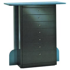 1989 Memphis Style Dresser Gray and Blue Satin Lacquer, Sormani, Italy