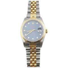 1989 Rolex Men's Two-Tone Date Just Watch Blue Diamond Dial 16233