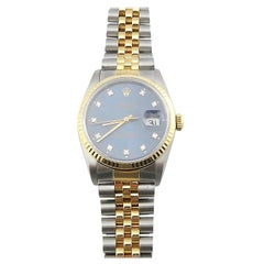 1989 Rolex Men's Two-Tone Date Just Watch Blue Diamond Dial 16233